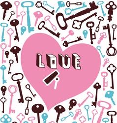key lock heart background vector image vector image
