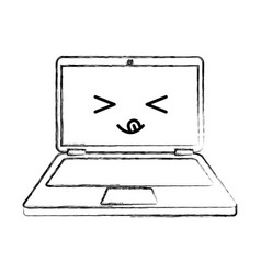 Laptop computer kawaii character vector