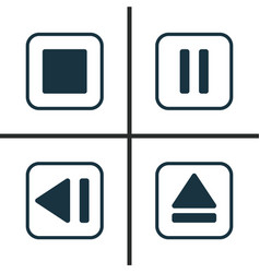 music icons set collection of mute song last vector image