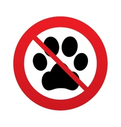 No dog paw sign icon pets symbol vector