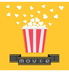 Popcorn Film strip ribbon Red yellow box Cinema vector image vector image