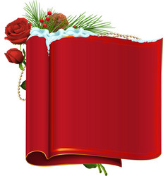 Red blank paper scroll fir branch berry and rose vector