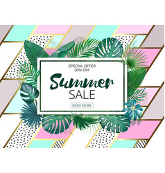sale square summer sale tropical leaves frame on vector image vector image
