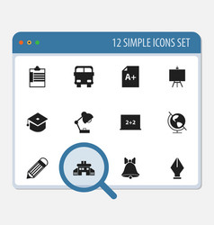 Set of 12 editable knowledge icons includes vector