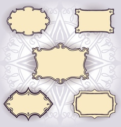 Set of freehand drawn frames on floral background vector image
