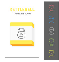 Simple line stroked kettlebell icon vector
