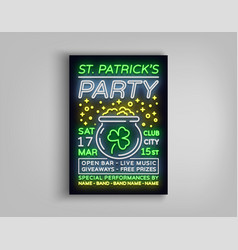 st patricks day party poster design template vector image