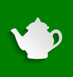 Tea maker sign paper whitish icon with vector