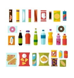 Vending machine product items set vector