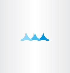 water wave sign logo summer blue symbol vector image
