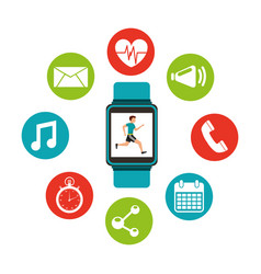 Wearable technology with healthy lifestyle vector