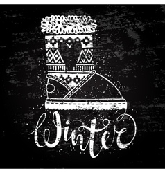 Winter text brush lettering and boots with heart vector image