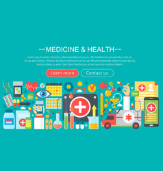 medicine and health design concept set with vector image