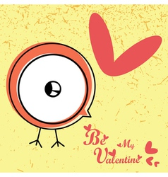 Valentines day card with bird vector
