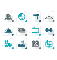 Stylized hotel and motel amenity icons vector