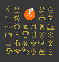 different gifts icons collection web and mobile vector image