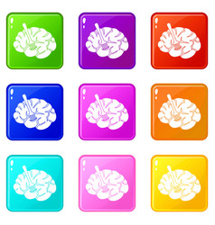 Fork is inserted into the brain icons 9 set vector