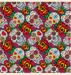 Seamless pattern with sugar skulls and roses dead vector