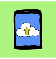 Doodle style touchpad with cloud vector