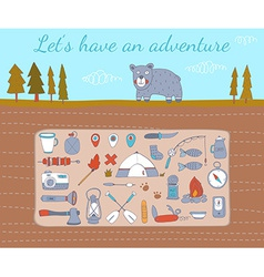 Camping adventure set vector
