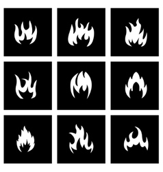 Black fire icon set vector