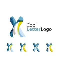 Set of abstract x letter company logos business vector