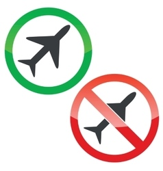 Plane permission signs set vector