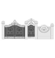 Old street fence and gate vector