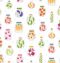 Preserved vegetables in jars seamless pattern vector