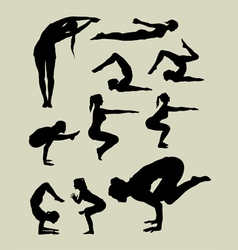 Female yoga silhouettes vector