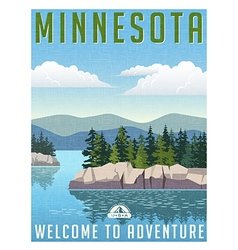 Vintage travel poster or sticker of minnesota vector