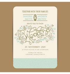 Beautiful wedding invitation card vector image