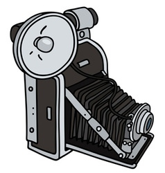 Vintage camera with a flashlight vector