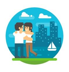 Flat design couple hugging near river vector
