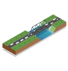 Isometric bridge over the river commercial vector