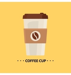 Flat coffee cup icon vector