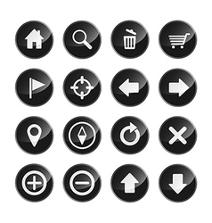 Navigation menu icon set glossy black vector