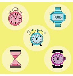 Retro clock icons vector image