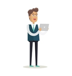 Man with tablet in flat design vector
