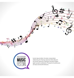 abstract Music notes on colorful lines On vector image vector image