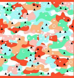 Camouflage seamless pattern in a pink blue green vector