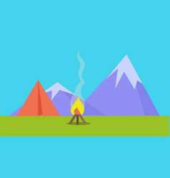 Camping tent near fire and mountains vector