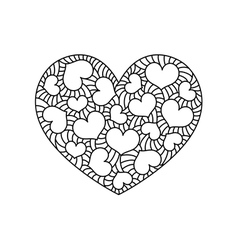 Doodle heart greeting card for valentine day vector