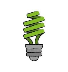 Drawn green energy saving lamp light bulb vector