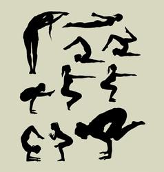 Female yoga silhouettes vector