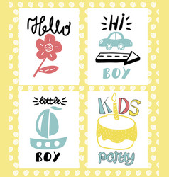 Four children s logo with handwriting hello vector
