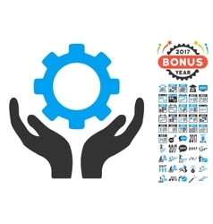 Gear maintenance hands icon with 2017 year bonus vector