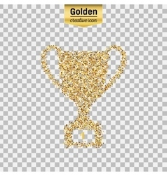 Gold glitter icon of trophy cup isolated on vector