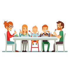 happy big family eating dinner together vector image vector image
