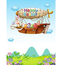 Happy easter greeting in the sky vector image vector image